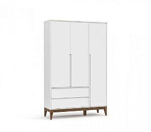 Guarda Roupa 3 Portas Nature Clean Eco Wood - Branco Soft - Matic
