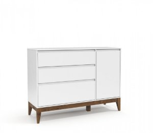 Cômoda Nature Clean 3 Gavetas e uma Porta Eco Wood - Branco Soft - Matic