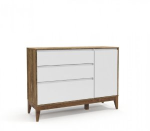 Cômoda Nature Clean 3 Gavetas e uma Porta Eco Wood - Branco Soft/Teka - Matic