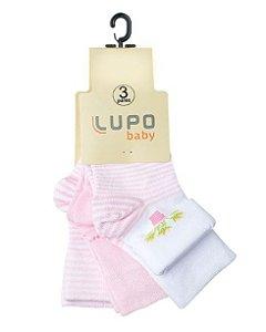 Kit Meia 3 Pares - Estampada/Lisa - Lupo Baby