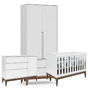 Berço + Cômoda com Porta + Guarda Roupa 2 Portas Nature Clean Eco Wood - Branco Soft - Matic