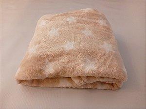 Manta Microfibra Encanto Baby Premium - Bege Estrelas - Ksatex