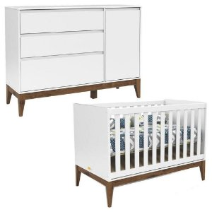 Berço + Cômoda com Porta Nature Clean Eco Wood - Branco Soft - Matic