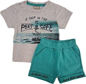 Conjunto Infantil Masculino Camiseta + Bermuda - Cinza/Verde - Milon