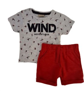 Conjunto Infantil Masculino Camiseta + Bermuda - Cinza/Vermelho - Milon