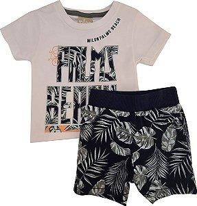 Conjunto Infantil Masculino Camiseta + Bermuda - Branco/Marinho - Milon