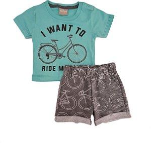 Conjunto Infantil Masculino Camiseta + Bermuda - Verde/Cinza - Milon