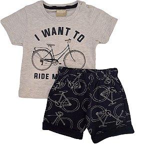 Conjunto Infantil Masculino Camiseta + Bermuda - Cinza/Marinho - Milon
