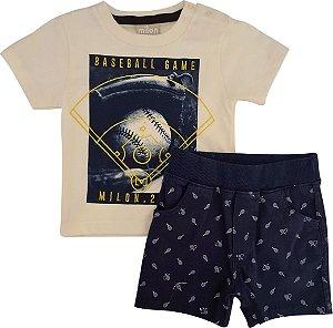 Conjunto Infantil Masculino Camiseta + Bermuda - Amarelo/Marinho - Milon