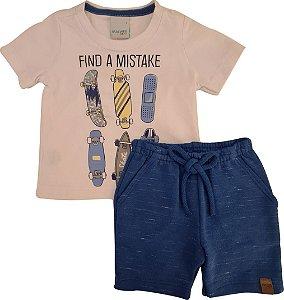Conjunto Infantil Masculino Camiseta + Bermuda - Branco/Azul - Malwee