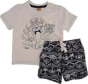 Conjunto Infantil Masculino Camiseta + Bermuda - Branco/Marinho - Up Baby