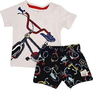 Conjunto Infantil Masculino Camiseta + Bermuda - Branco/Marinho - Puc