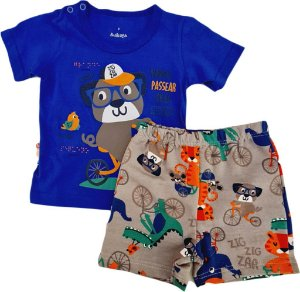 Conjunto Infantil Masculino Camiseta + Bermuda - Azul/Cinza - Zig Zag Zaa
