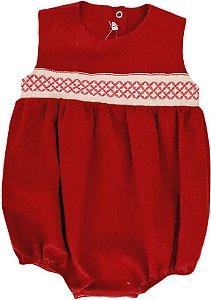 Macacão Curto Infantil Feminino - Marsala - Kidstar