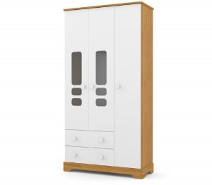 Guarda Roupa Smart 3 Portas - Freijó/Branco Soft - Matic