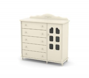 Cômoda Provence Slim 5 Gavetas e 1 Porta - Off White  - Matic
