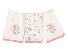 Kit com 3 Fraldinhas de Boca - Sereia - Anjos Baby