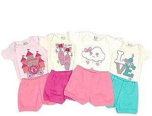 Kit com 4 Conjuntos Femininos Body e Shorts - Uau Baby