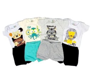 Kit com 4 Conjuntos Masculinos Body e Shorts - Uau Baby