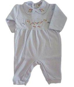 Macacão Infantil Feminino - Branco/Flores - Doce Melado