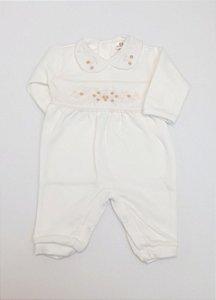 Macacão Infantil Feminino - Off White/Flores - Doce Melado