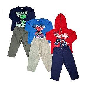 Kit com 3 Conjuntos Infantil Masculino Casaco + Calça - Fakini
