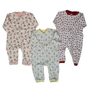 Kit com 3 Macacões Infantil Estampados com Zíper - Anjos Baby
