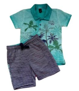 Conjunto Infantil Masculino Camiseta + Bermuda - Verde/Grafite - Banana Danger