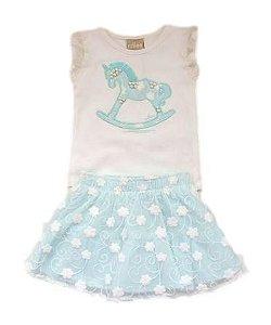 Conjunto Infantil Feminino - Off White/Verde Água - Milon