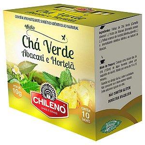 Chá misto com Chá verde, abacaxi e hotelã 10 sachês Chileno