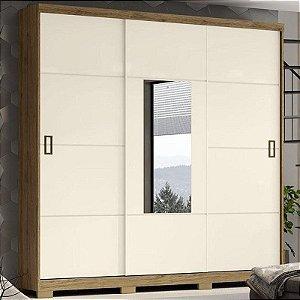 Guarda Roupa Solteiro 3 Portas Deslizantes com Espelho 2 Gavetas Silver Henn D210 106 Rústico/Off White