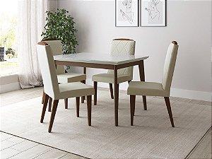 Conjunto de Mesa Julien Província 4 Cadeiras Natural com Vidro Branco