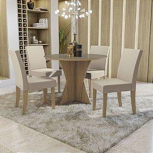 Conjunto de Mesa Figueira Redonda 4 Cadeiras Kappesberg Freijó/Off White