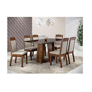 Conjunto de Mesa Ísis Sonetto Preto C/ 6 Cadeiras Valência Pena Bege