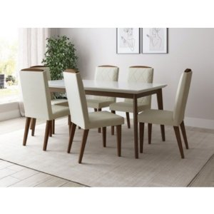 Conjunto de Mesa Julien Província 6 Cadeiras Natural com Vidro Branco