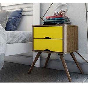 Mesa de Cabeceira Twister Retro 2 Gavetas Imbuia Rustic/Amarelo