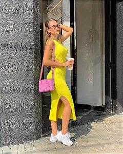 Vestido Midi Lima Neon