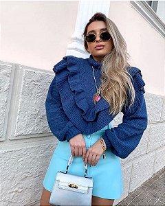 Blusa de Tricot Azul Marinho
