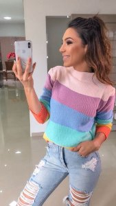 Blusa de Tricot Rainbow