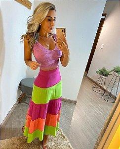 Saia Midi Tricolor Neon