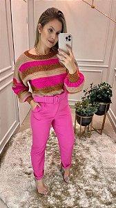 Blusa de Tricot Pink Listrada