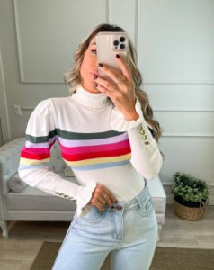 Blusa Branca Rainbow