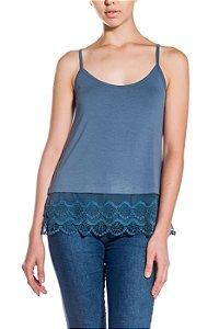 Blusa de Alcinha Cleo Milani com Barra de Renda Azul Jeans
