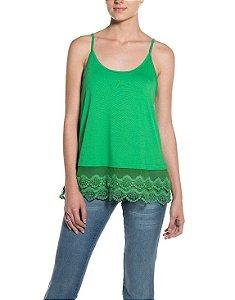 Blusa de Alcinha Cleo Milani com Barra de Renda Verde Bandeira