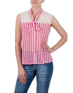 Camisa Gola Laço com Renda Listrada Rosa