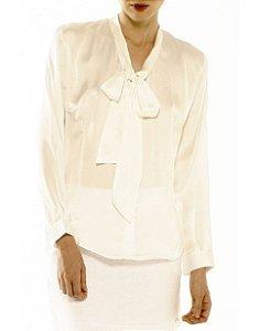 Camisa Gola Laço Seda Marfim