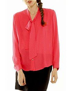 Camisa Gola Laço Seda Rosa Pink