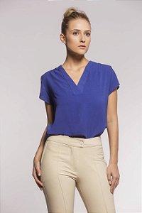 Camisa Gola V Blooms Crepe Marrocos Azul Bic