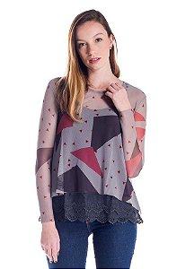 Camiseta de Tule Cleo Milani Cinza com Formas Geométricas