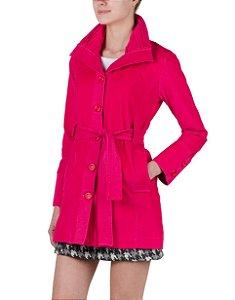 Trench Coat de Veludo Rosa Pink
